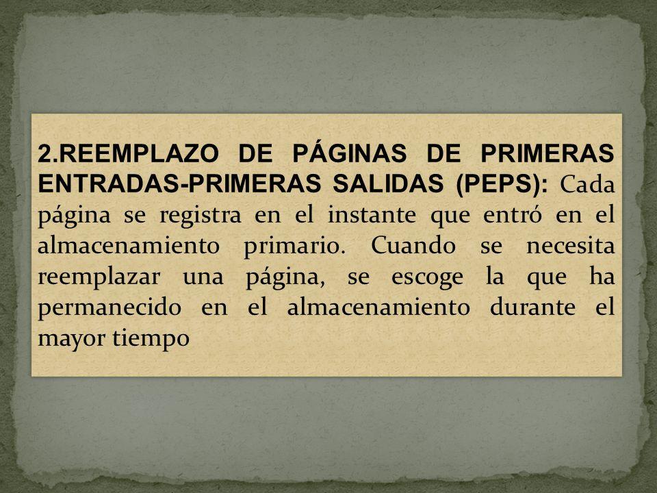 2.REEMPLAZO DE PÁGINAS DE PRIMERAS ENTRADAS-PRIMERAS SALIDAS (PEPS): Cada página se registra en el instante que entró en el almacenamiento primario.