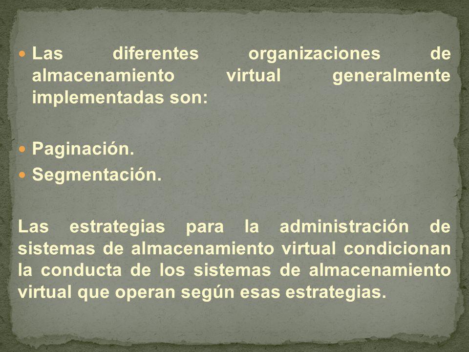 Las diferentes organizaciones de almacenamiento virtual generalmente implementadas son: Paginación.