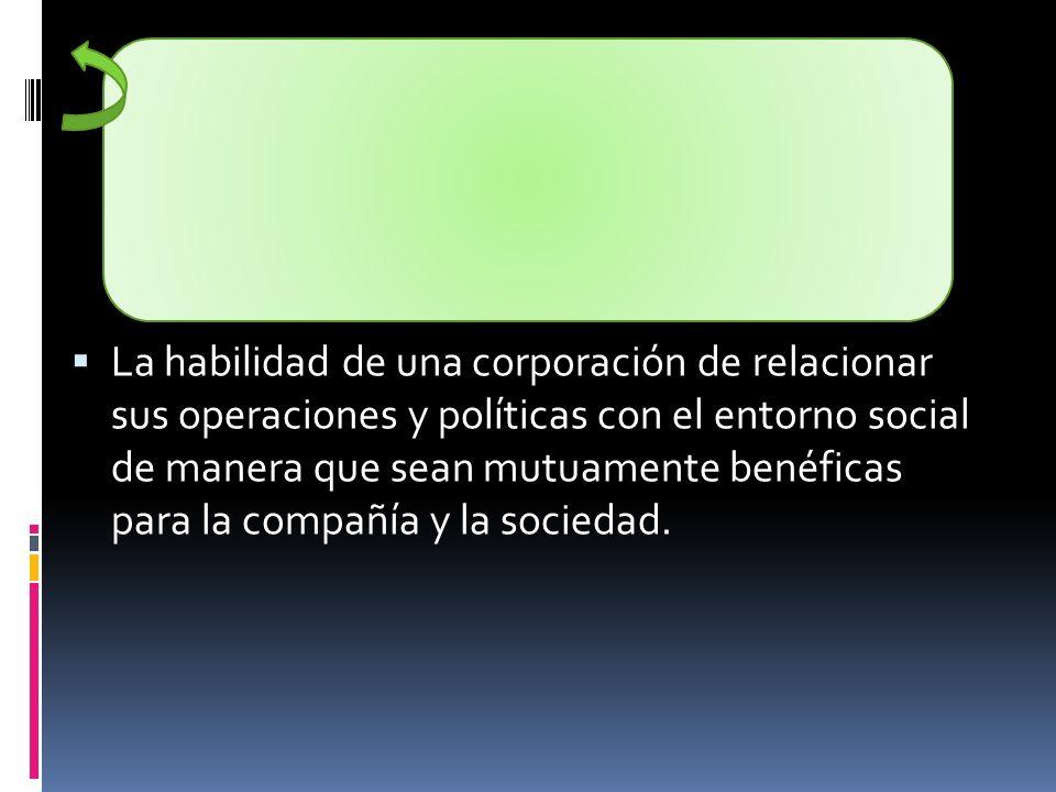 La habilidad de una corporación de relacionar sus operaciones y políticas con el entorno social de manera que sean mutuamente benéficas para la compañ