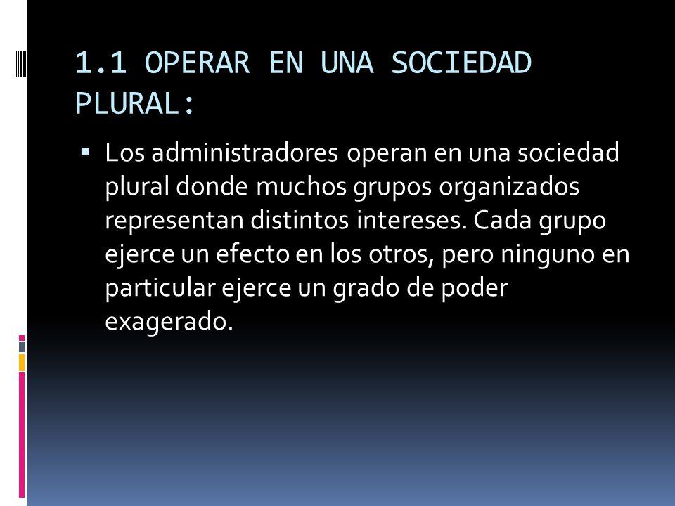 1.1 OPERAR EN UNA SOCIEDAD PLURAL: Los administradores operan en una sociedad plural donde muchos grupos organizados representan distintos intereses.