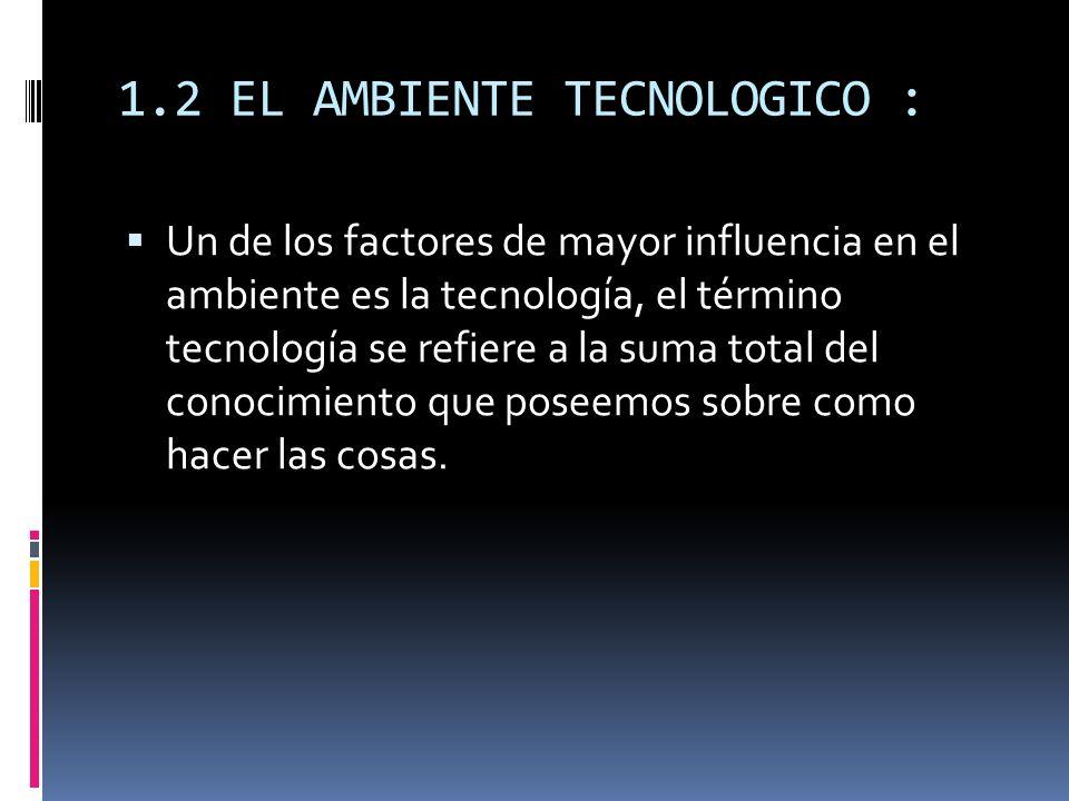 1.2 EL AMBIENTE TECNOLOGICO : Un de los factores de mayor influencia en el ambiente es la tecnología, el término tecnología se refiere a la suma total