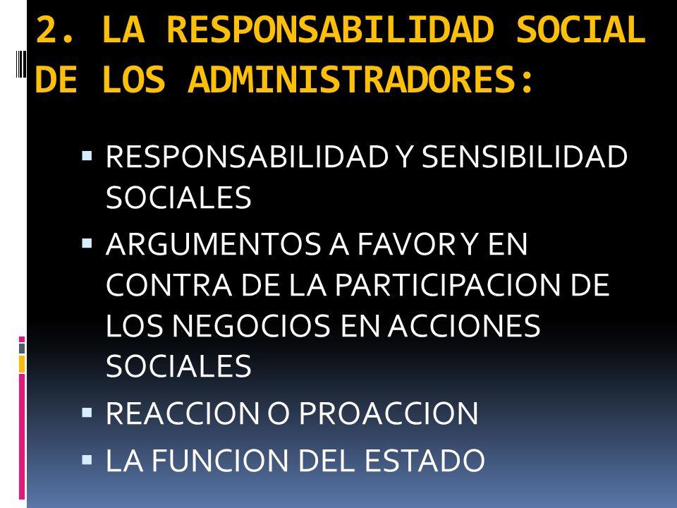 2. LA RESPONSABILIDAD SOCIAL DE LOS ADMINISTRADORES: RESPONSABILIDAD Y SENSIBILIDAD SOCIALES ARGUMENTOS A FAVOR Y EN CONTRA DE LA PARTICIPACION DE LOS