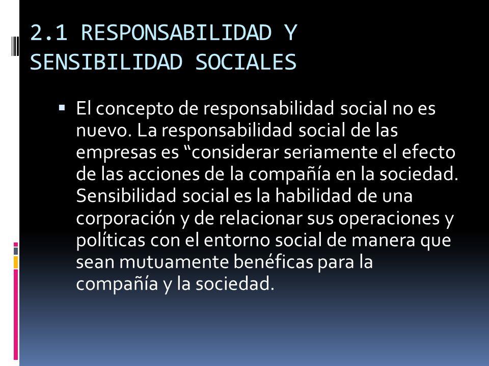 2.1 RESPONSABILIDAD Y SENSIBILIDAD SOCIALES El concepto de responsabilidad social no es nuevo. La responsabilidad social de las empresas es considerar