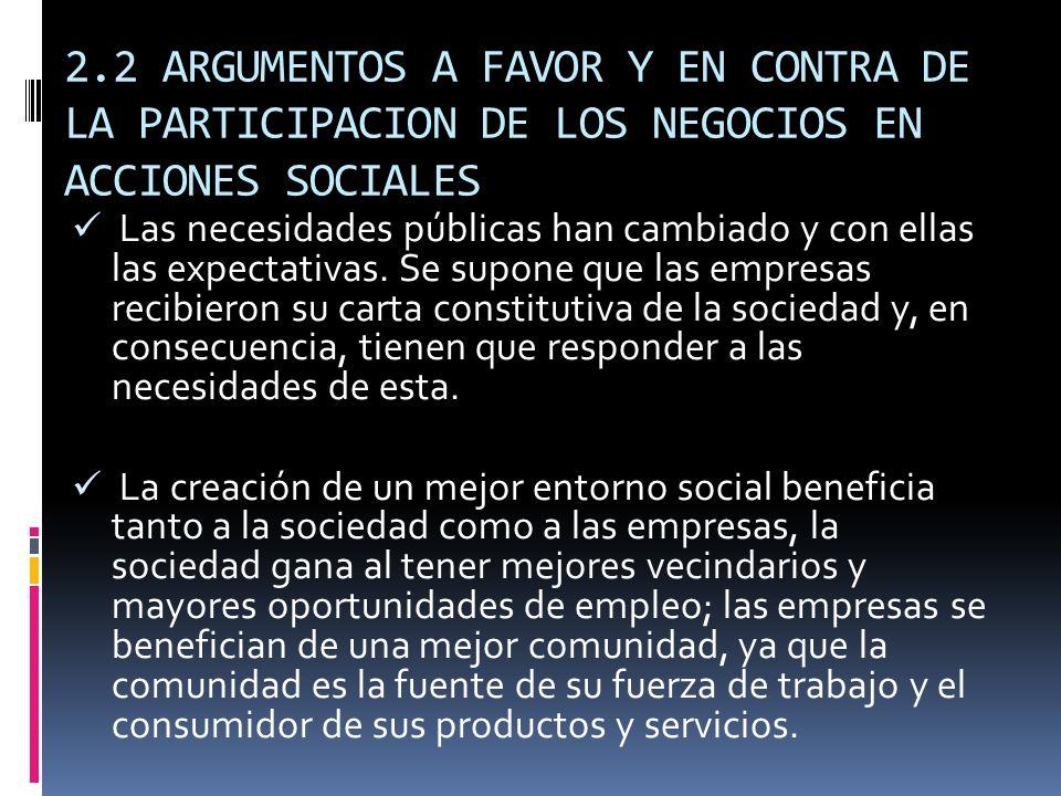 2.2 ARGUMENTOS A FAVOR Y EN CONTRA DE LA PARTICIPACION DE LOS NEGOCIOS EN ACCIONES SOCIALES Las necesidades públicas han cambiado y con ellas las expe