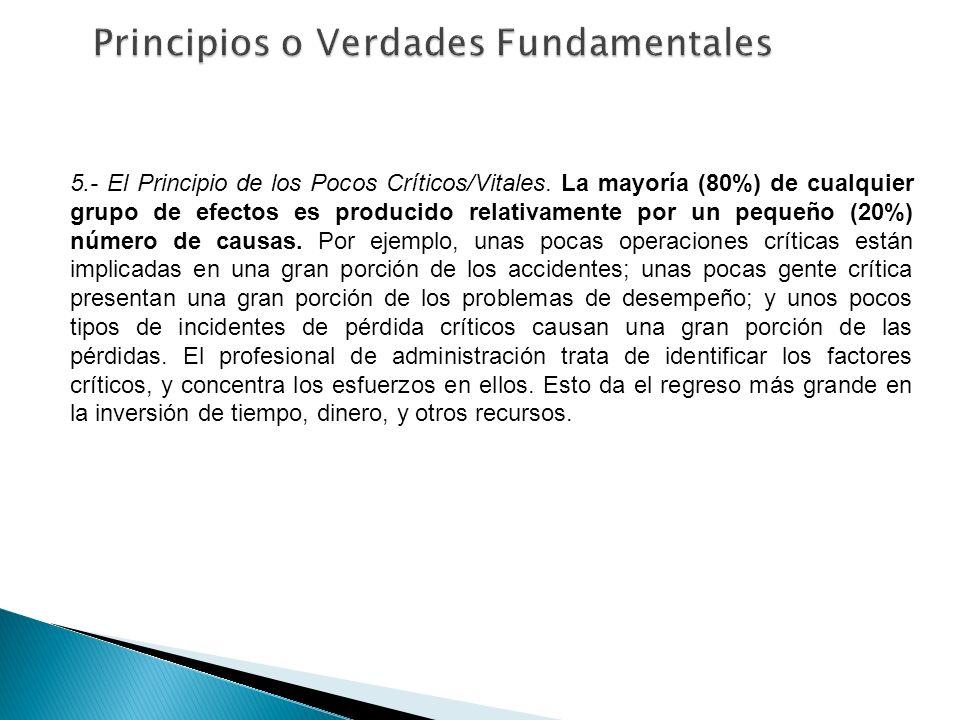 5.- El Principio de los Pocos Críticos/Vitales. La mayoría (80%) de cualquier grupo de efectos es producido relativamente por un pequeño (20%) número