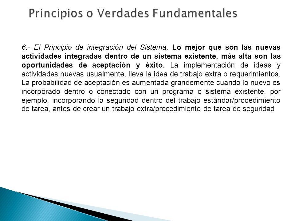 6.- El Principio de integración del Sistema. Lo mejor que son las nuevas actividades integradas dentro de un sistema existente, más alta son las oport