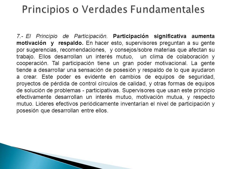 7.- El Principio de Participación. Participación significativa aumenta motivación y respaldo. En hacer esto, supervisores preguntan a su gente por sug