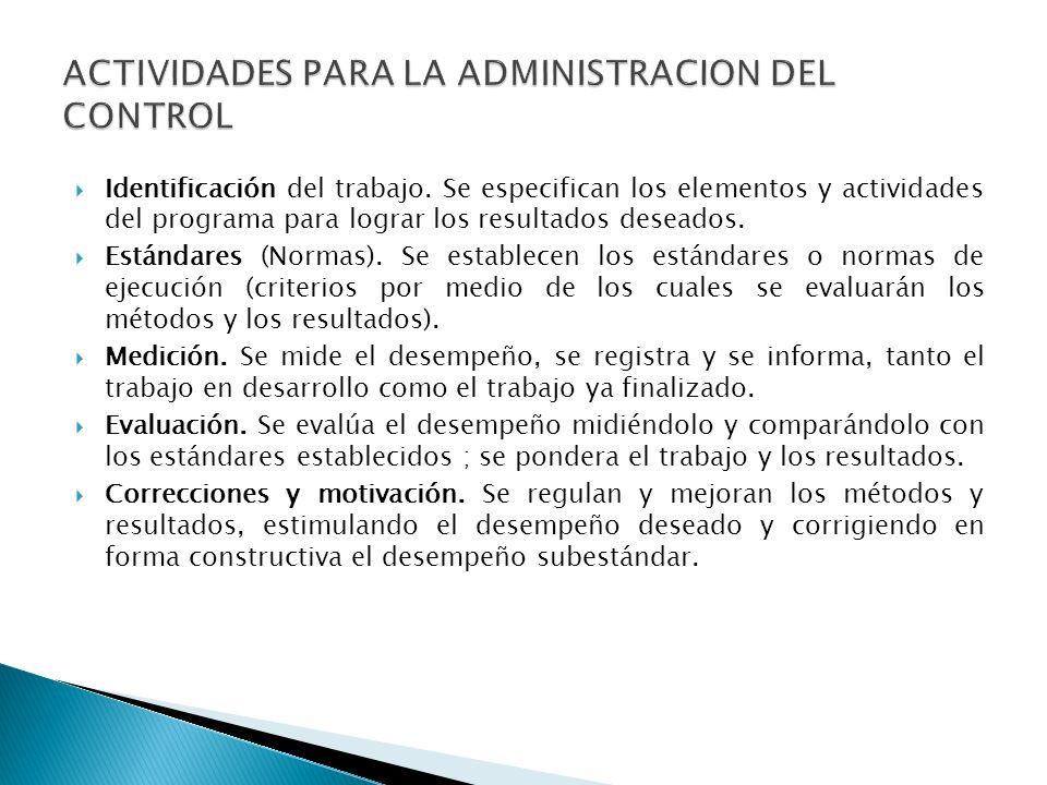 Identificación del trabajo. Se especifican los elementos y actividades del programa para lograr los resultados deseados. Estándares (Normas). Se estab