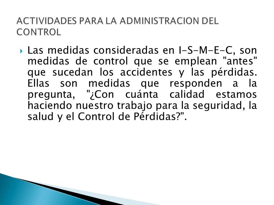 Las medidas consideradas en I-S-M-E-C, son medidas de control que se emplean