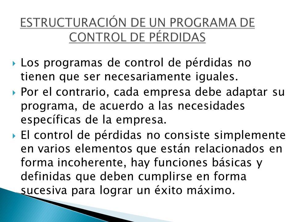 Los programas de control de pérdidas no tienen que ser necesariamente iguales. Por el contrario, cada empresa debe adaptar su programa, de acuerdo a l