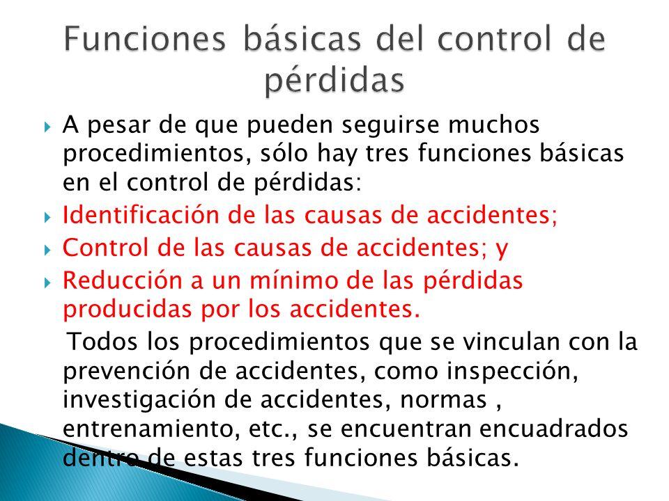 A pesar de que pueden seguirse muchos procedimientos, sólo hay tres funciones básicas en el control de pérdidas: Identificación de las causas de accid