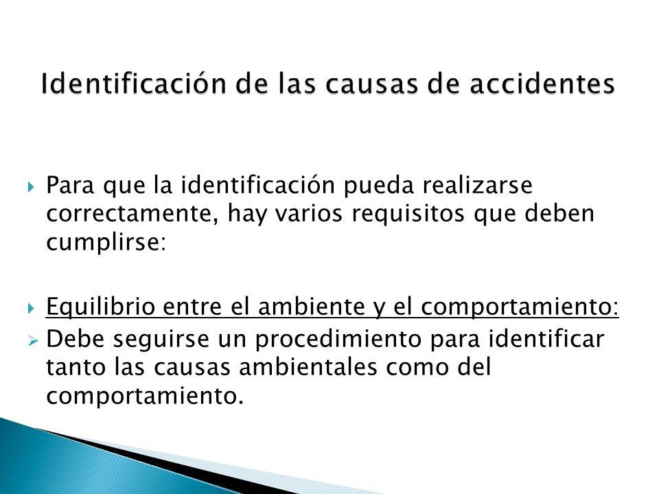 Para que la identificación pueda realizarse correctamente, hay varios requisitos que deben cumplirse: Equilibrio entre el ambiente y el comportamiento