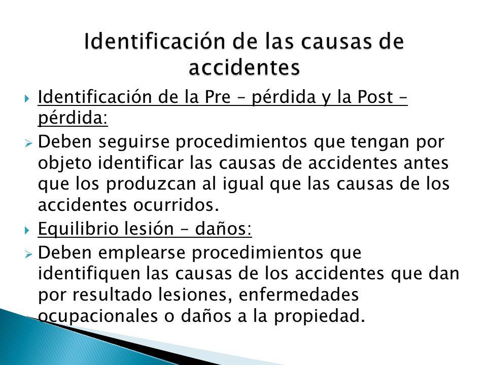 Identificación de la Pre – pérdida y la Post – pérdida: Deben seguirse procedimientos que tengan por objeto identificar las causas de accidentes antes
