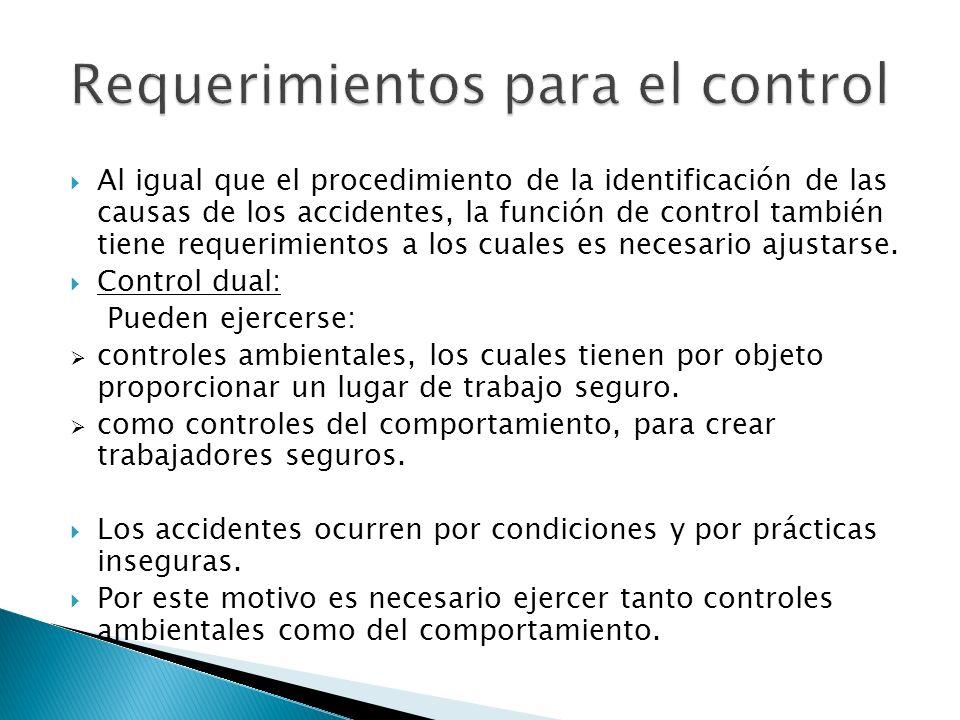 Al igual que el procedimiento de la identificación de las causas de los accidentes, la función de control también tiene requerimientos a los cuales es