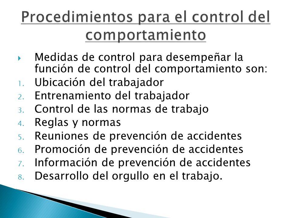 Medidas de control para desempeñar la función de control del comportamiento son: 1. Ubicación del trabajador 2. Entrenamiento del trabajador 3. Contro