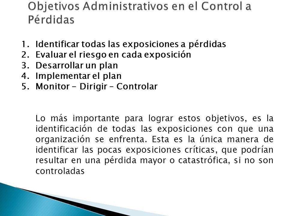 1.Identificar todas las exposiciones a pérdidas 2.Evaluar el riesgo en cada exposición 3.Desarrollar un plan 4.Implementar el plan 5.Monitor - Dirigir