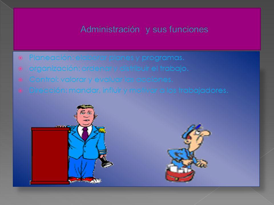 La generalización de los principios de administración empresarial en cualquier tipo de organización o institución Administrar Para: Planificar, Organi