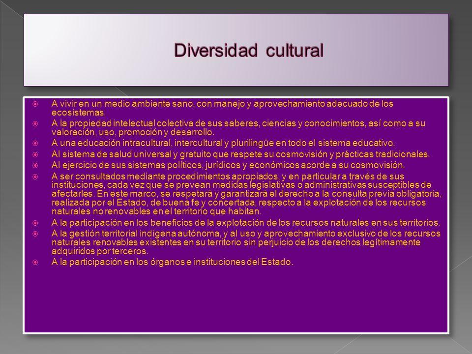 Diversidad cultural A existir libremente. A su identidad cultural, creencia religiosa, espiritualidades. Prácticas y costumbres, y a su propia cosmovi
