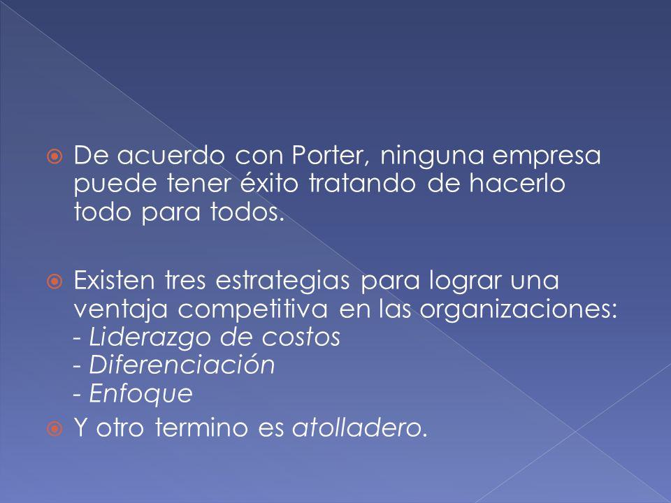 De acuerdo con Porter, ninguna empresa puede tener éxito tratando de hacerlo todo para todos. Existen tres estrategias para lograr una ventaja competi