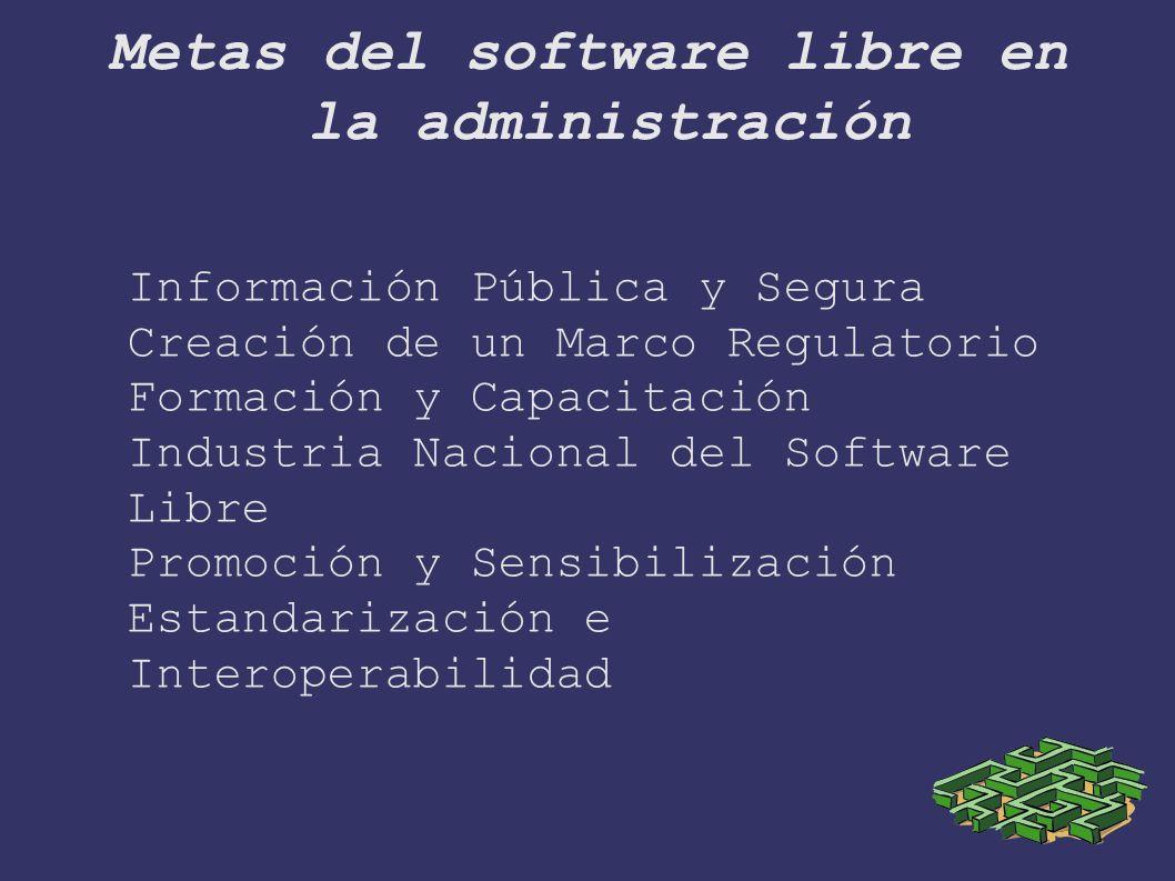 Metas del software libre en la administración Información Pública y Segura Creación de un Marco Regulatorio Formación y Capacitación Industria Nacional del Software Libre Promoción y Sensibilización Estandarización e Interoperabilidad