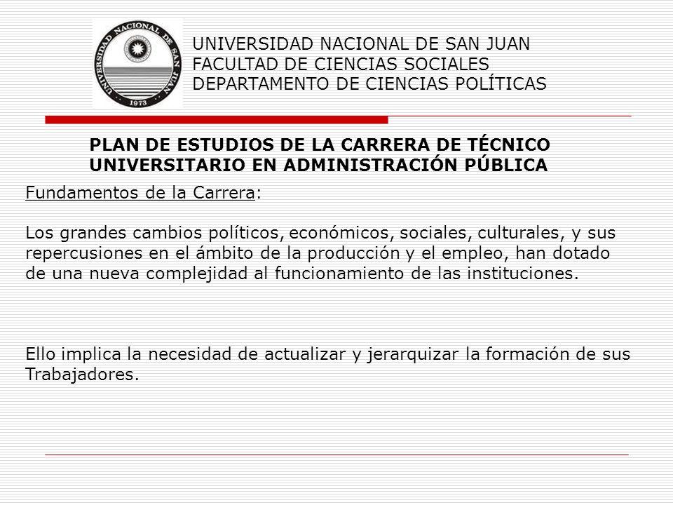 PLAN DE ESTUDIOS DE LA CARRERA DE TÉCNICO UNIVERSITARIO EN ADMINISTRACIÓN PÚBLICA UNIVERSIDAD NACIONAL DE SAN JUAN FACULTAD DE CIENCIAS SOCIALES DEPAR