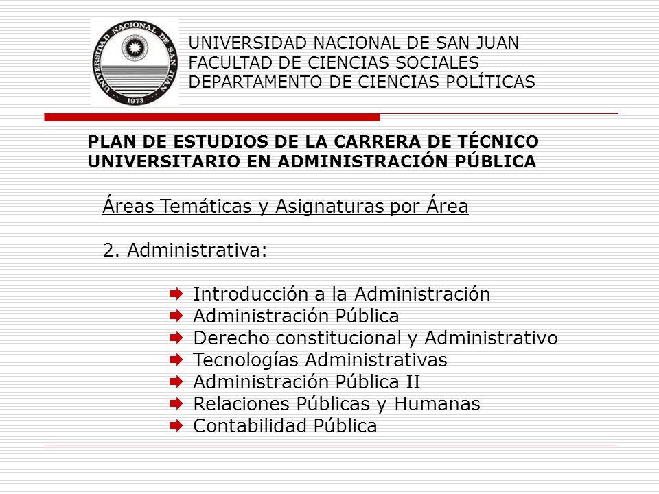 Áreas Temáticas y Asignaturas por Área 2. Administrativa: Introducción a la Administración Administración Pública Derecho constitucional y Administrat