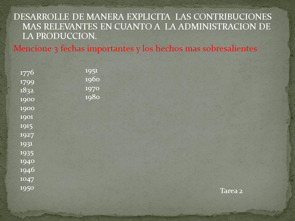 DESARROLLE DE MANERA EXPLICITA LAS CONTRIBUCIONES MAS RELEVANTES EN CUANTO A LA ADMINISTRACION DE LA PRODUCCION. Mencione 3 fechas importantes y los h