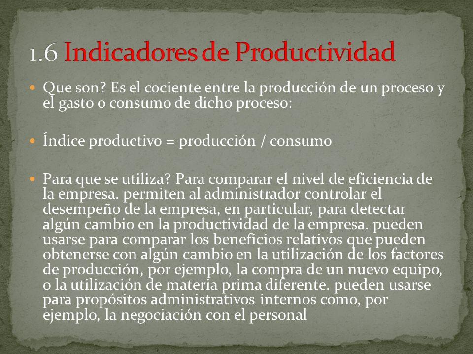 Que son? Es el cociente entre la producción de un proceso y el gasto o consumo de dicho proceso: Índice productivo = producción / consumo Para que se