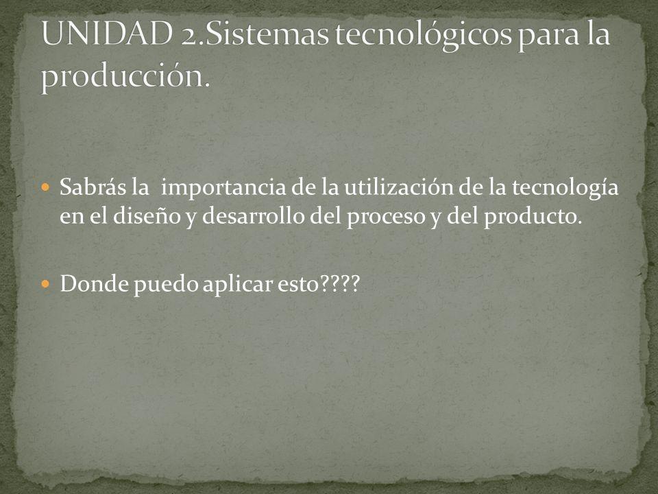 Sabrás la importancia de la utilización de la tecnología en el diseño y desarrollo del proceso y del producto. Donde puedo aplicar esto????