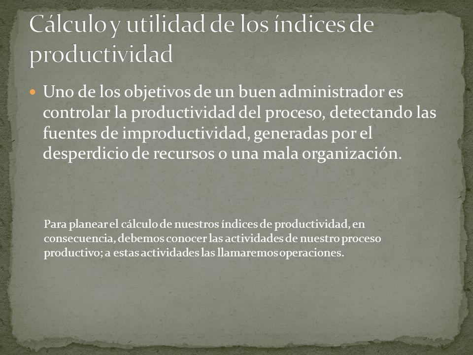 Uno de los objetivos de un buen administrador es controlar la productividad del proceso, detectando las fuentes de improductividad, generadas por el d