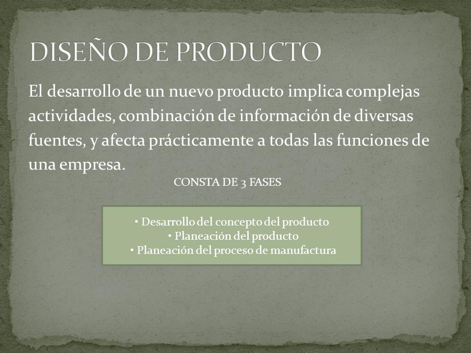 El desarrollo de un nuevo producto implica complejas actividades, combinación de información de diversas fuentes, y afecta prácticamente a todas las f