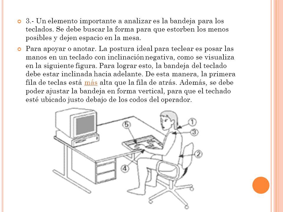 3.- Un elemento importante a analizar es la bandeja para los teclados. Se debe buscar la forma para que estorben los menos posibles y dejen espacio en