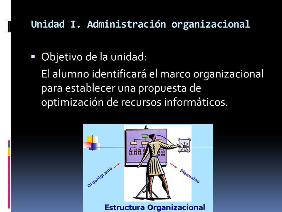 Unidad I. Administración organizacional Objetivo de la unidad: El alumno identificará el marco organizacional para establecer una propuesta de optimiz