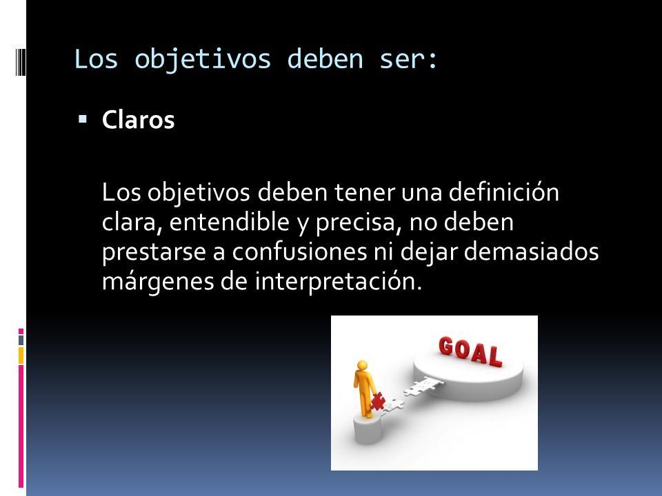 Claros Los objetivos deben tener una definición clara, entendible y precisa, no deben prestarse a confusiones ni dejar demasiados márgenes de interpre