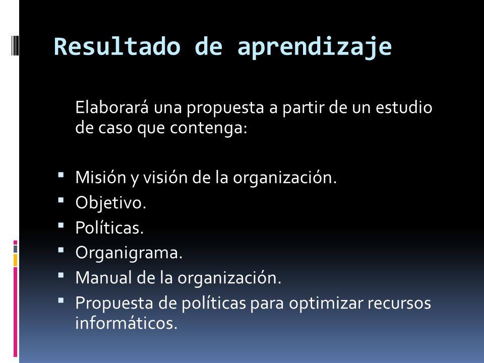 Resultado de aprendizaje Elaborará una propuesta a partir de un estudio de caso que contenga: Misión y visión de la organización. Objetivo. Políticas.
