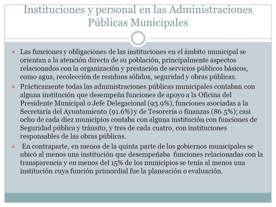 Instituciones y personal en las Administraciones Públicas Municipales Las funciones y obligaciones de las instituciones en el ámbito municipal se orie