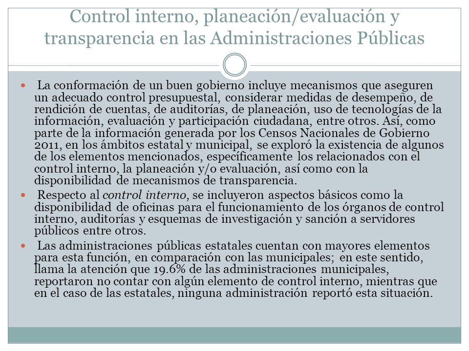 Control interno, planeación/evaluación y transparencia en las Administraciones Públicas La conformación de un buen gobierno incluye mecanismos que ase
