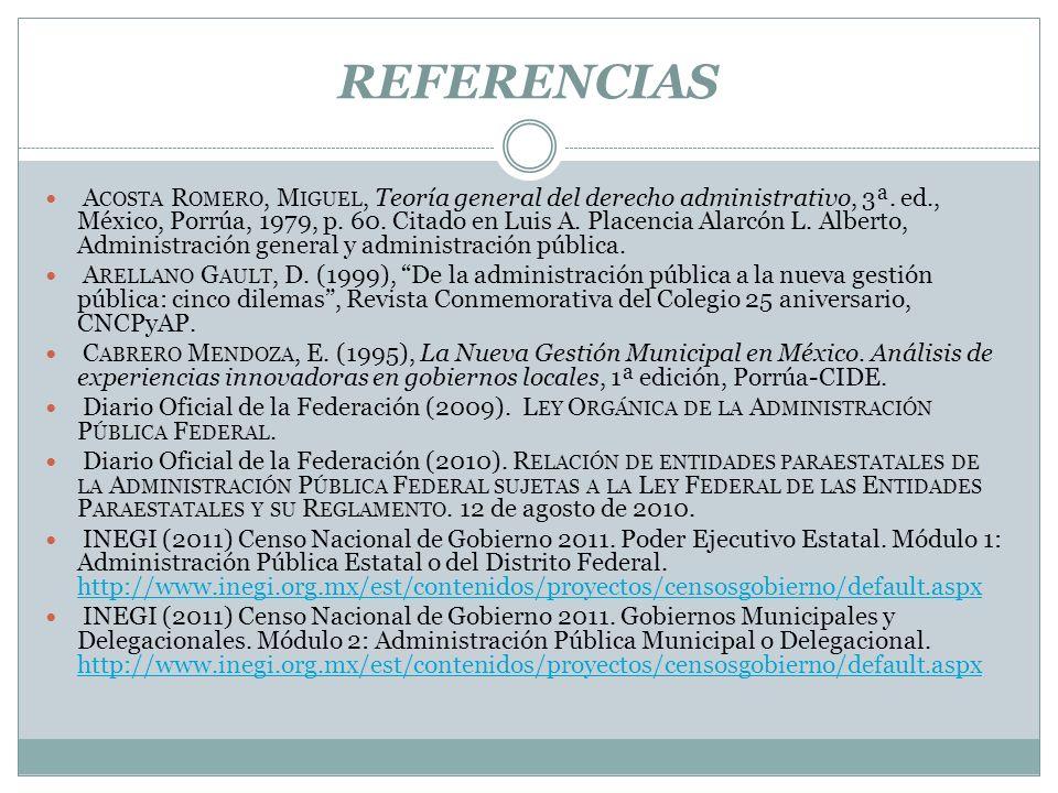 REFERENCIAS A COSTA R OMERO, M IGUEL, Teoría general del derecho administrativo, 3ª. ed., México, Porrúa, 1979, p. 60. Citado en Luis A. Placencia Ala