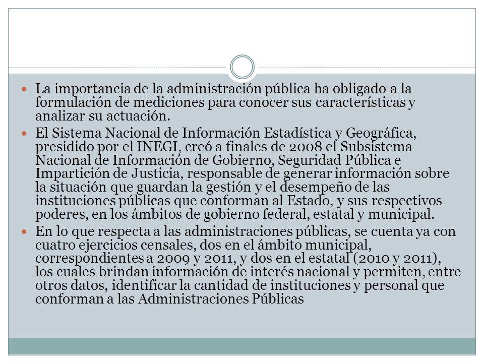 Instituciones de las administraciones públicas, según clasificación administrativa y ámbito de gobierno a/ Incluye datos de la administración pública del Distrito Federal; no se incluyen datos de Durango.