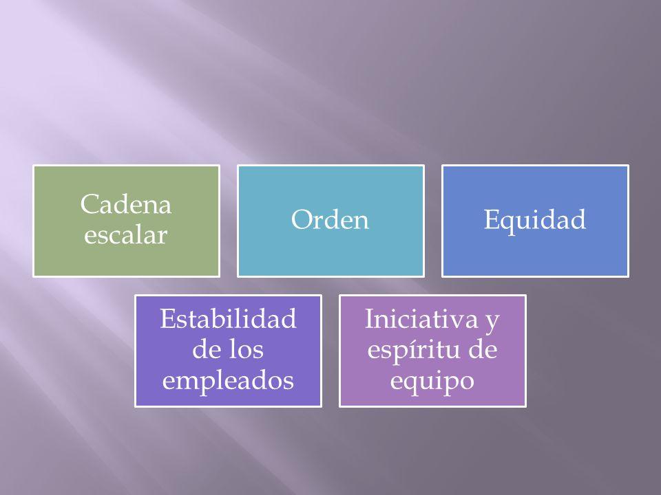 Cadena escalar OrdenEquidad Estabilidad de los empleados Iniciativa y espíritu de equipo