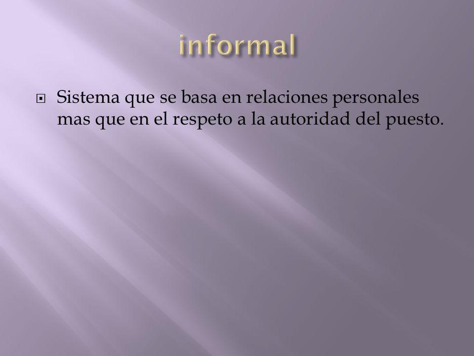 Sistema que se basa en relaciones personales mas que en el respeto a la autoridad del puesto.