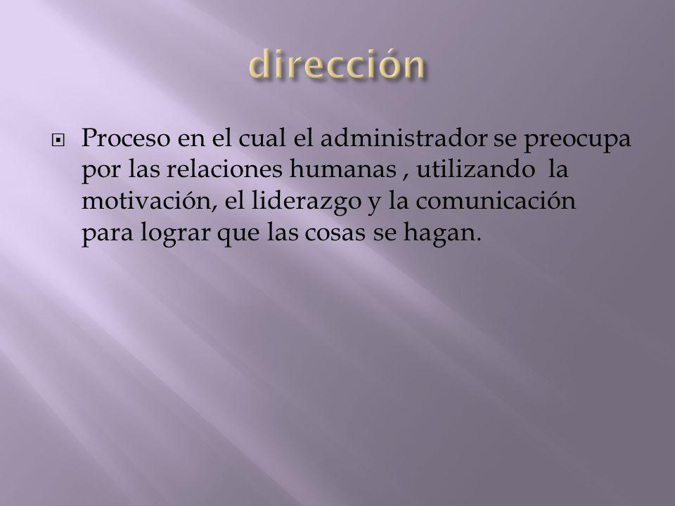 Proceso en el cual el administrador se preocupa por las relaciones humanas, utilizando la motivación, el liderazgo y la comunicación para lograr que l