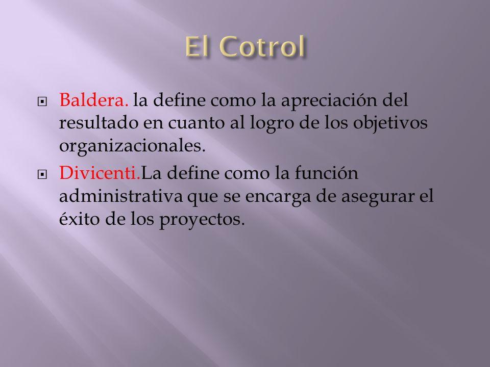 Baldera. la define como la apreciación del resultado en cuanto al logro de los objetivos organizacionales. Divicenti.La define como la función adminis