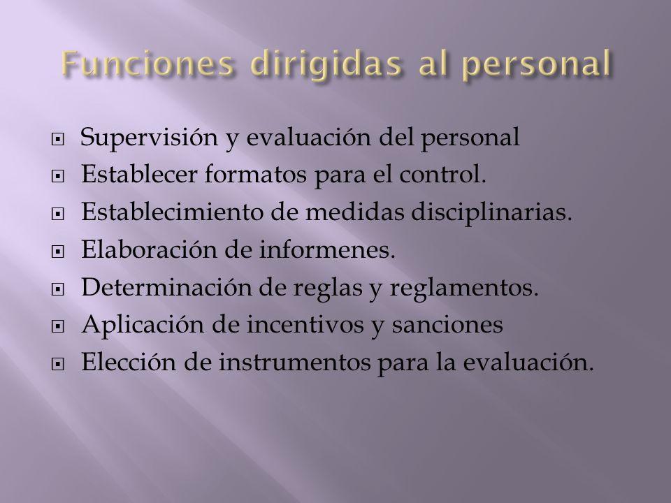 Supervisión y evaluación del personal Establecer formatos para el control. Establecimiento de medidas disciplinarias. Elaboración de informenes. Deter
