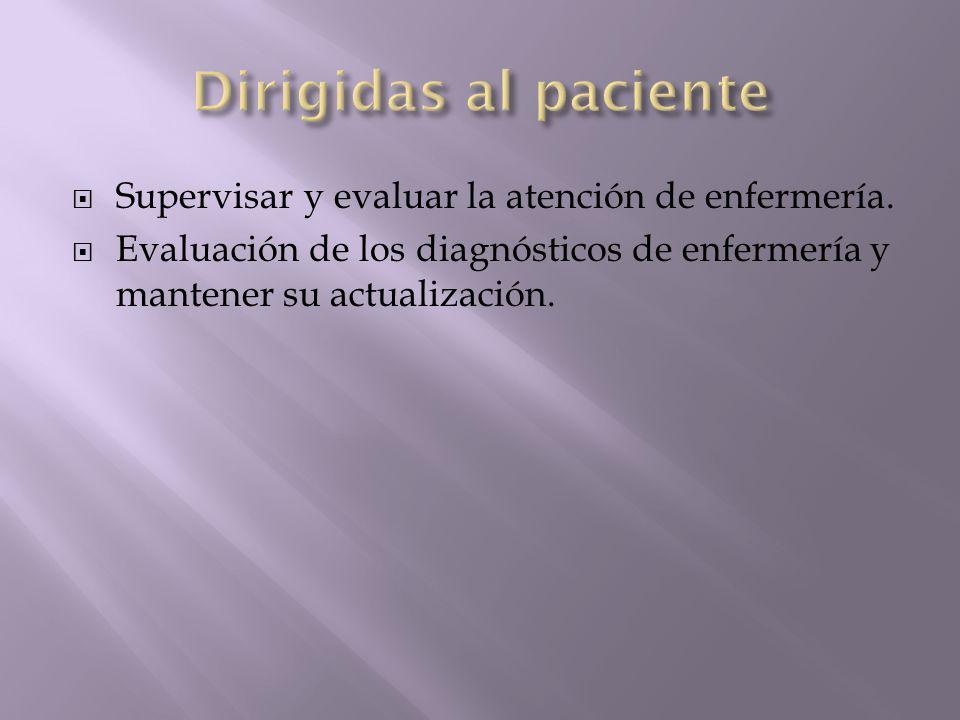 Supervisar y evaluar la atención de enfermería. Evaluación de los diagnósticos de enfermería y mantener su actualización.