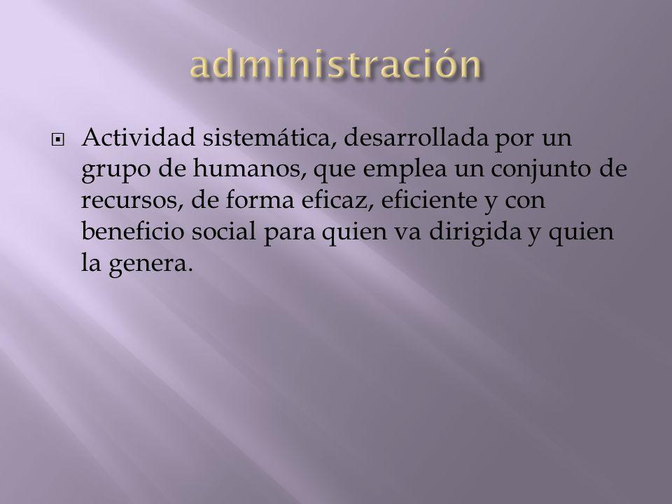 Actividad sistemática, desarrollada por un grupo de humanos, que emplea un conjunto de recursos, de forma eficaz, eficiente y con beneficio social par