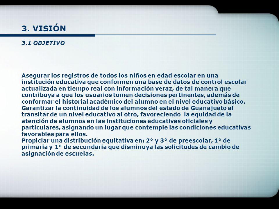 3. VISIÓN 3.1 OBJETIVO Asegurar los registros de todos los niños en edad escolar en una institución educativa que conformen una base de datos de contr