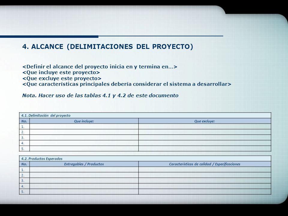 4. ALCANCE (DELIMITACIONES DEL PROYECTO) Nota. Hacer uso de las tablas 4.1 y 4.2 de este documento 4.1. Delimitación del proyecto No.Que incluye:Que e