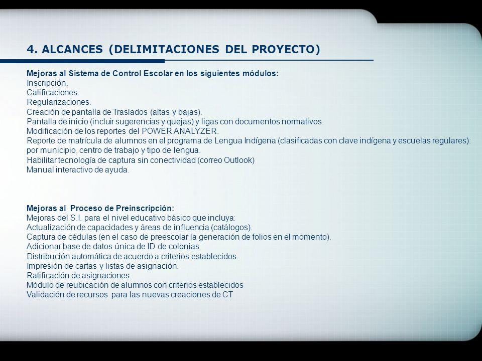 4. ALCANCES (DELIMITACIONES DEL PROYECTO) Mejoras al Sistema de Control Escolar en los siguientes módulos: Inscripción. Calificaciones. Regularizacion