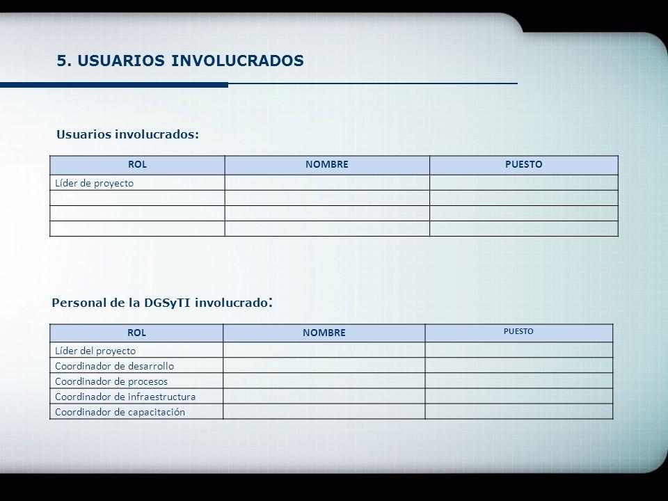 5. USUARIOS INVOLUCRADOS Usuarios involucrados: ROLNOMBREPUESTO Líder de proyecto Personal de la DGSyTI involucrado : ROLNOMBRE PUESTO Líder del proye